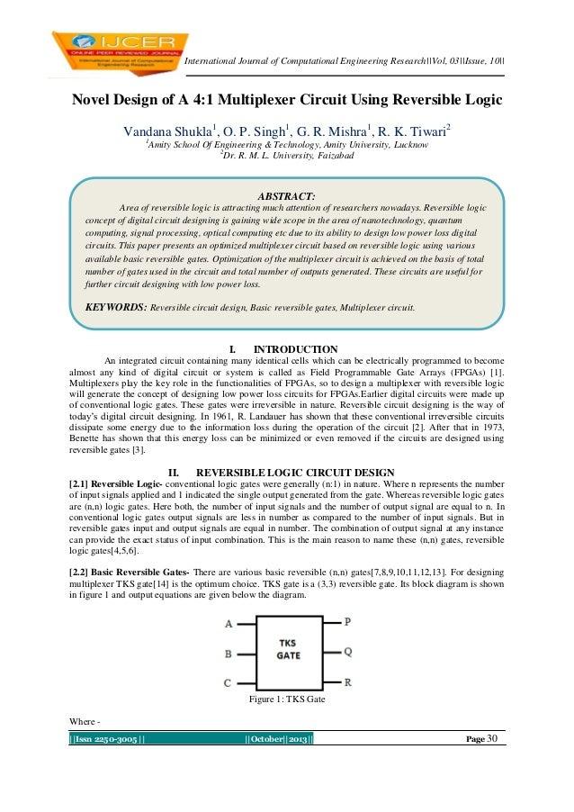 International Journal of Computational Engineering Research||Vol, 03||Issue, 10||  Novel Design of A 4:1 Multiplexer Circu...