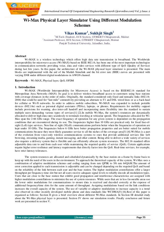 International Journal Of Computational Engineering Research (ijceronline.com) Vol. 3 Issue. 2       Wi-Max Physical Layer ...