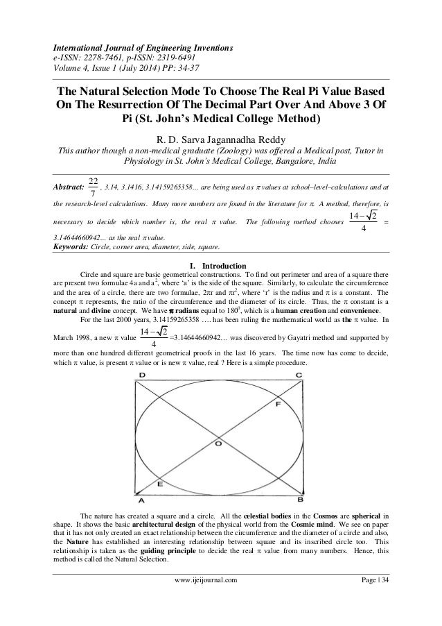 The Natural Selection Mode To Choose The Real Pi Value Based On The Resurrection Of The Decimal Part Over And Above 3 Of Pi (St. John's Medical College Method)