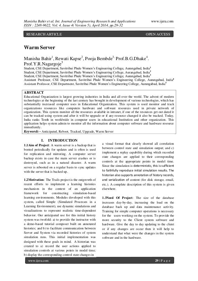 Manisha Bahir et al. Int. Journal of Engineering Research and Applications www.ijera.com ISSN : 2248-9622, Vol. 4, Issue 4...