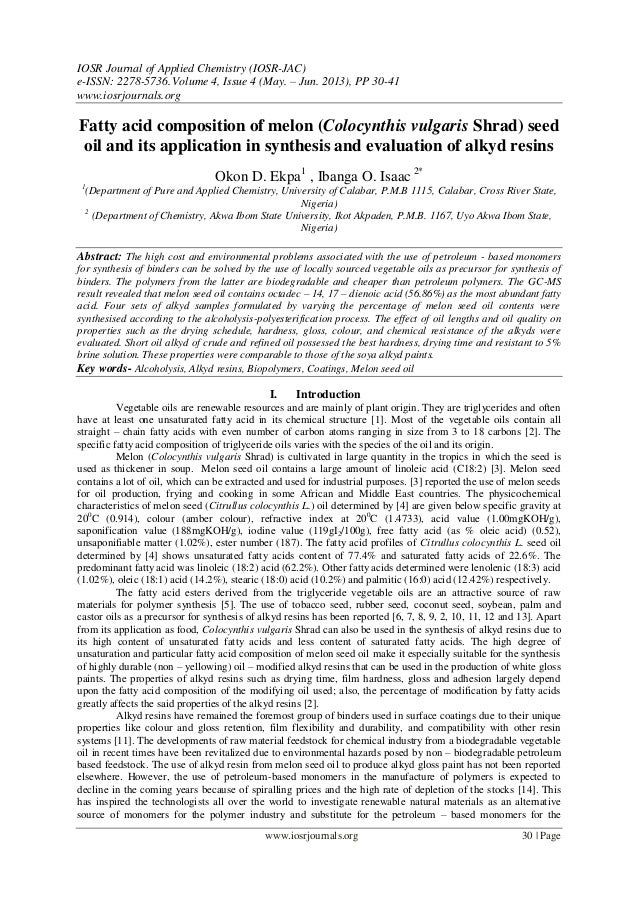 IOSR Journal of Applied Chemistry (IOSR-JAC) e-ISSN: 2278-5736.Volume 4, Issue 4 (May. – Jun. 2013), PP 30-41 www.iosrjour...