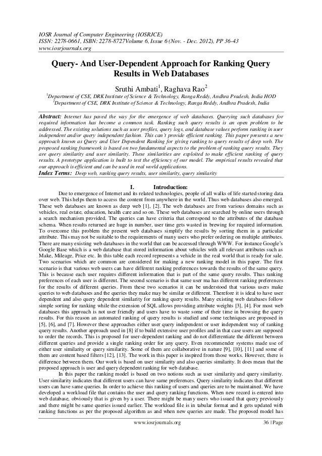 IOSR Journal of Computer Engineering (IOSRJCE) ISSN: 2278-0661, ISBN: 2278-8727Volume 6, Issue 6 (Nov. - Dec. 2012), PP 36...