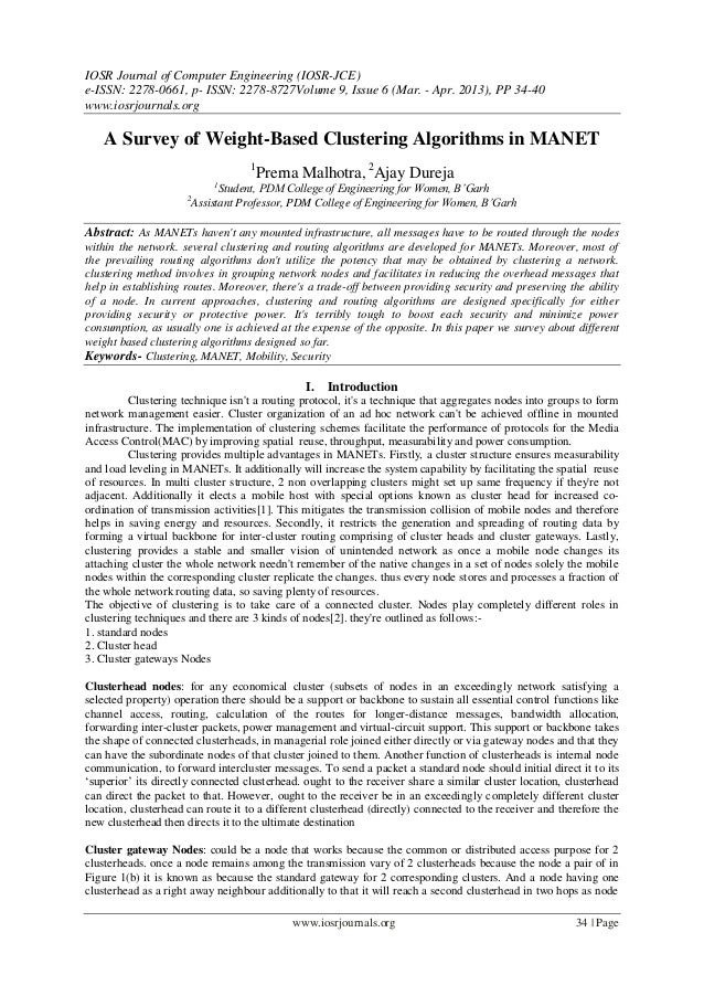 IOSR Journal of Computer Engineering (IOSR-JCE)e-ISSN: 2278-0661, p- ISSN: 2278-8727Volume 9, Issue 6 (Mar. - Apr. 2013), ...