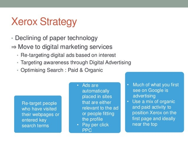 xerox marketing mix Xerox is studied with its swot analysis, segmentation, targeting, positioning and competition tagline and usp are also covered.