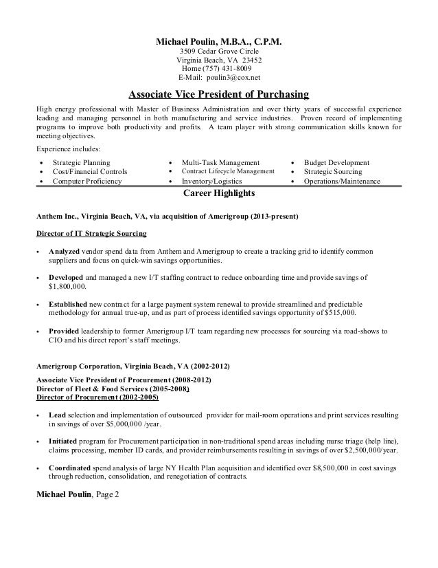 resume associate vice president of purchasing