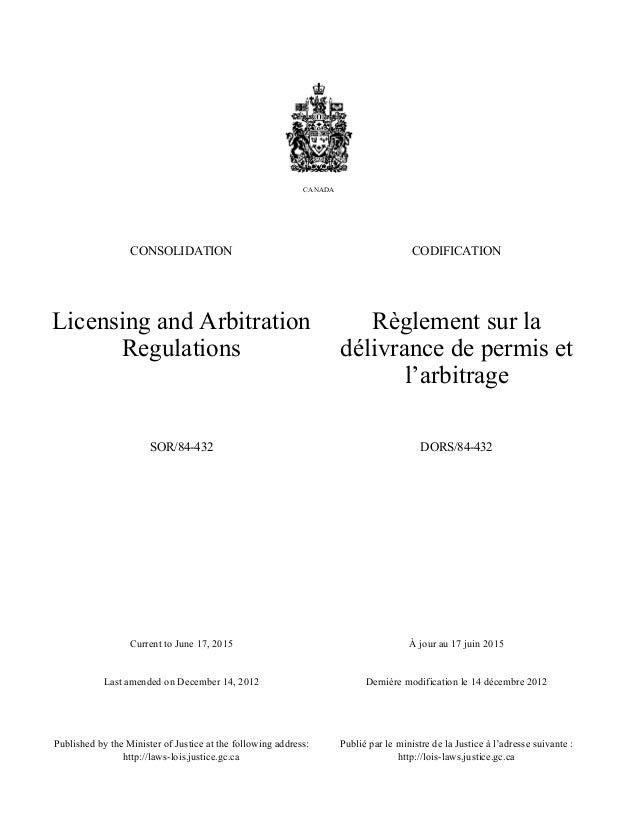 Current to June 17, 2015 Last amended on December 14, 2012 À jour au 17 juin 2015 Dernière modification le 14 décembre 201...