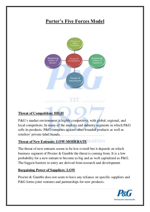 five forces model of procter and gamble Final presentation on procter and gamble november 26 2014 name : rishiraj das roll no :  porter's five forces model topic 2 company information 1.