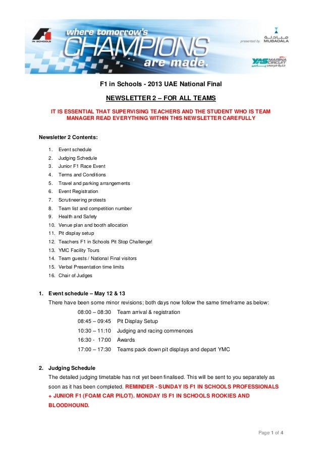 Page 1 of 4F1 in Schools - 2013 UAE National FinalNEWSLETTER 2 – FOR ALL TEAMSIT IS ESSENTIAL THAT SUPERVISING TEACHERS AN...