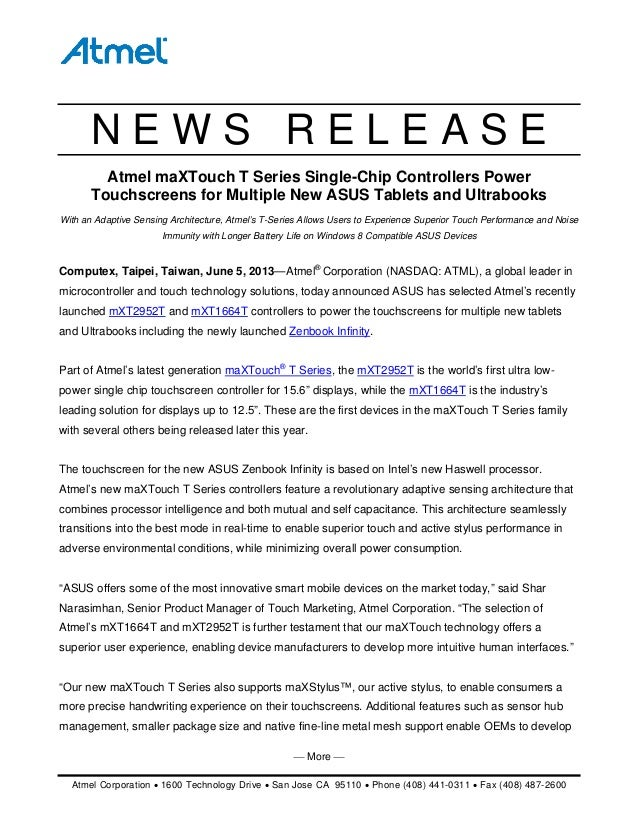 Atmel - Atmel maXTouch T-Series Single-Chip Controllers Power Touchscreens for Multiple New ASUS Tablets and Ultrabooks [PRESS RELEASE]