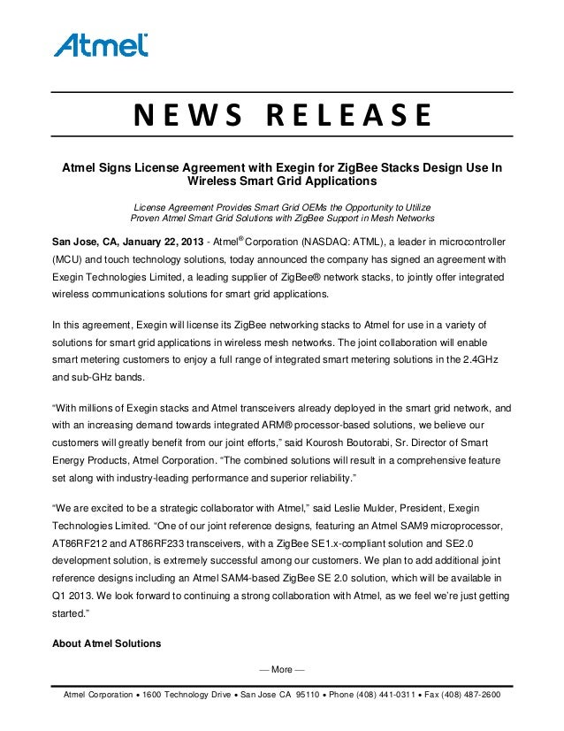Atmel - Atmel Signs License Agreement with Exegin for ZigBee Stacks Design Use In Wireless Smart Grid Applications [PRESS RELEASE]