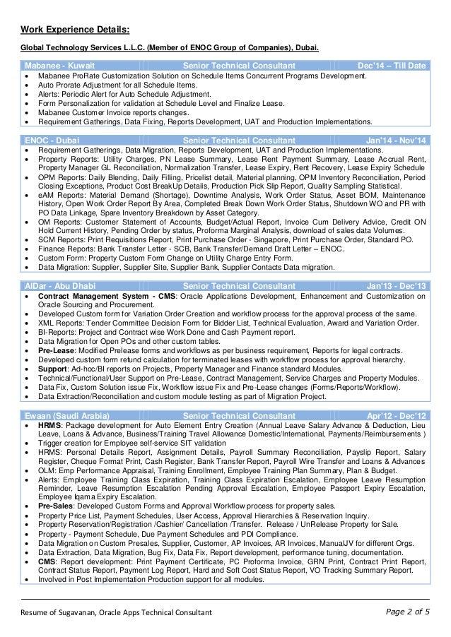 Resume of Sugavanan - Oracle Apps Technical Consultant