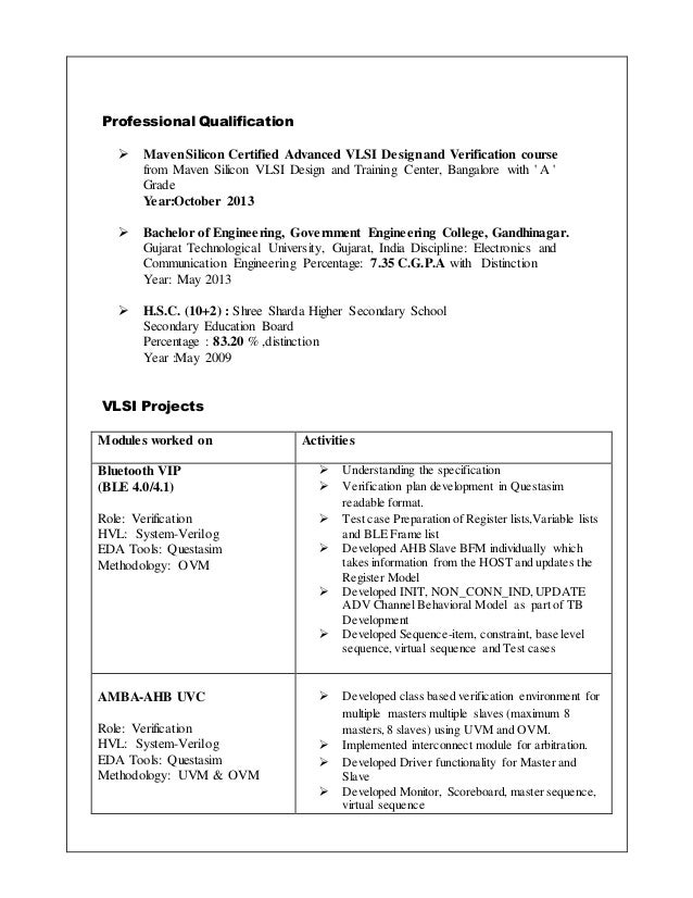 Vlsi engineer resume