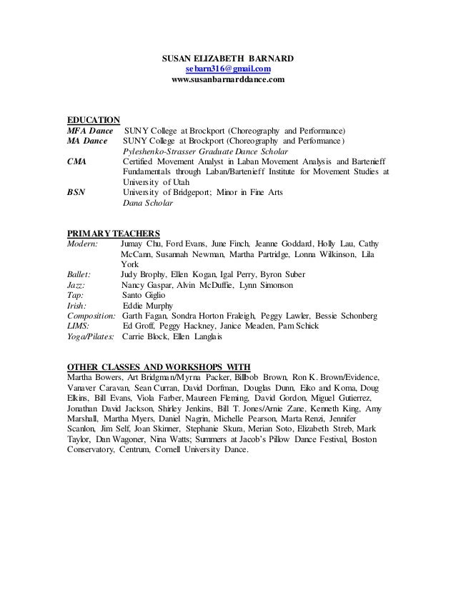 Dance Resume For College Dance Resume Template For College