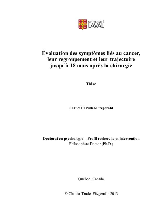 Évaluation des symptômes liés au cancer, leur regroupement et leur trajectoire jusqu'à 18 mois après la chirurgie Thèse Cl...