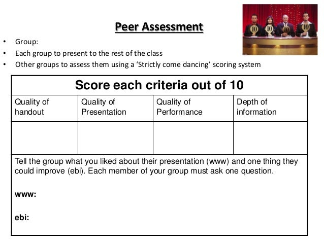 Peer Assessment • Group: • Each group to present to the rest of the class • Other groups to assess them using a 'Strictly ...