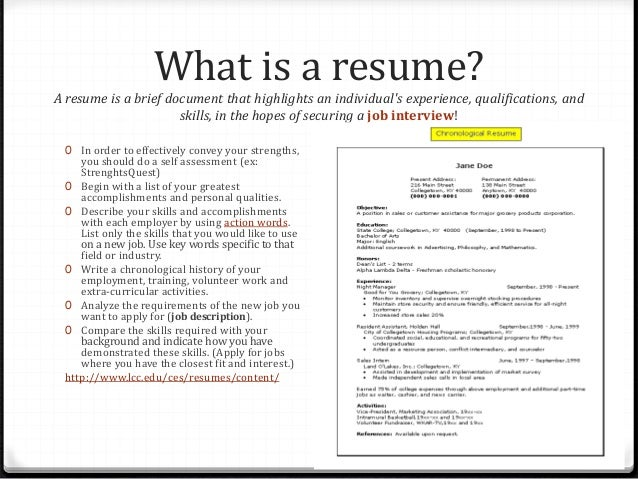 What does a resume need?