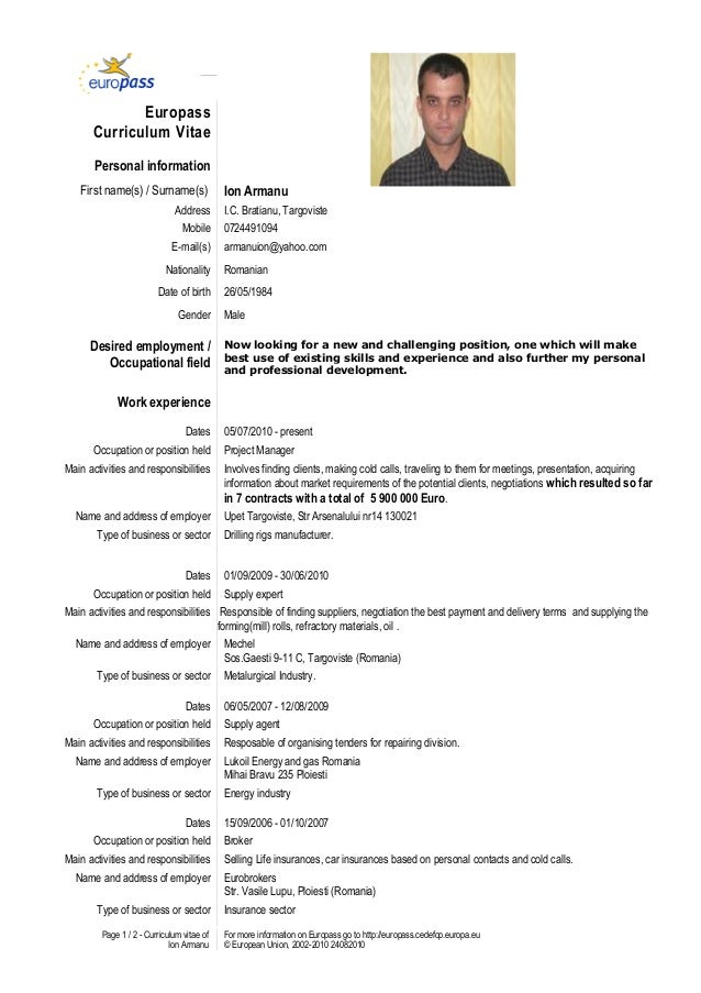 Model cv european completat online dating 3
