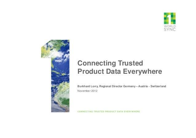 Connecting TrustedProduct Data EverywhereBurkhard Lorry, Regional Director Germany – Austria - SwitzerlandNovember 2012