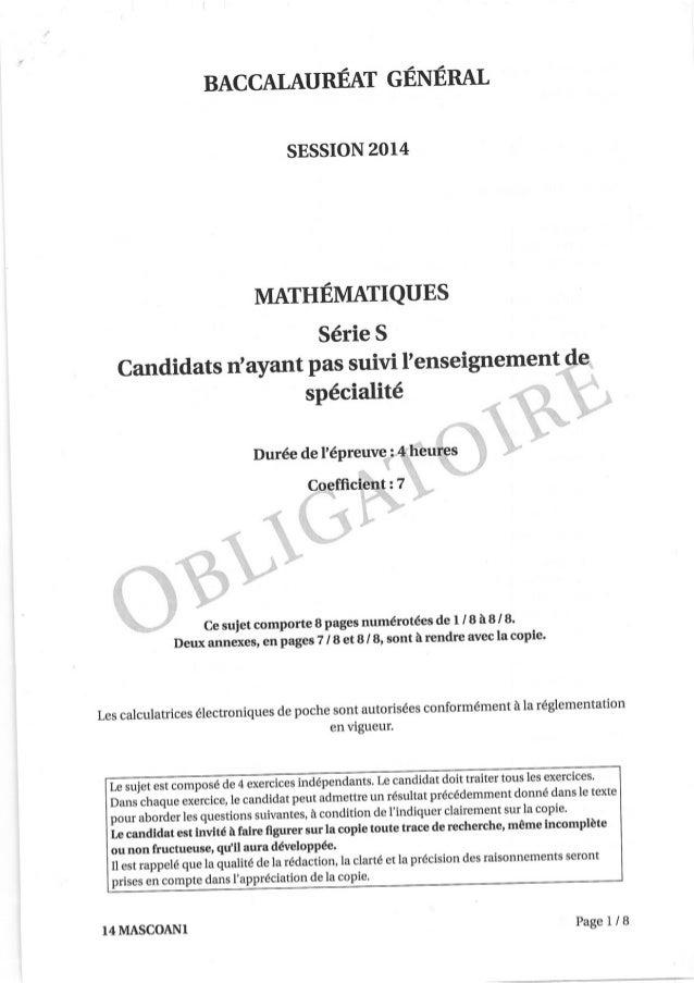 Sujet Mathématiques Bac S 2014 Amérique du Nord