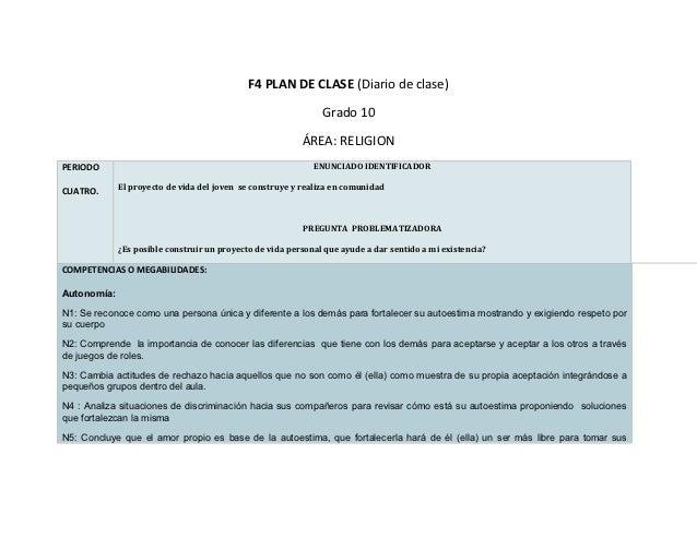 F4 PLAN DE CLASE (Diario de clase)                                                               Grado 10                 ...