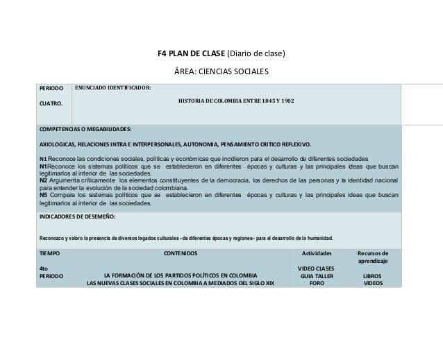 F4 PLAN DE CLASE (Diario de clase)                                                            ÁREA: CIENCIAS SOCIALESPERIO...