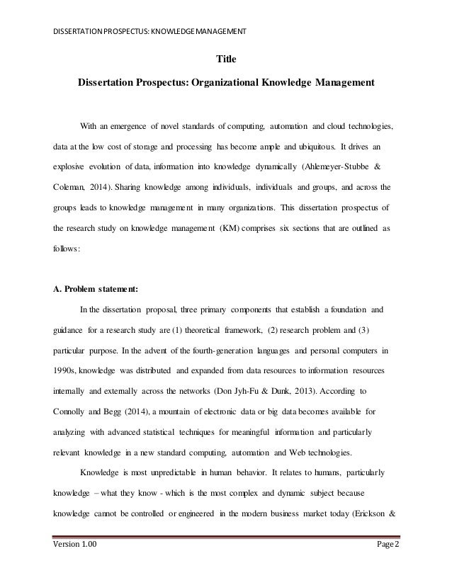 Dissertation Proposal Prospectus