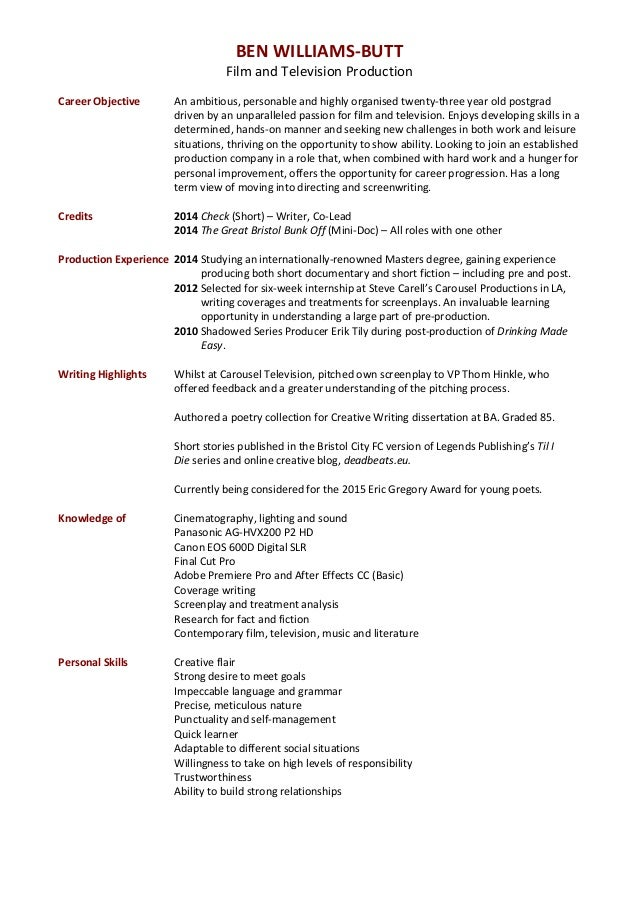 ben williams and television production cv