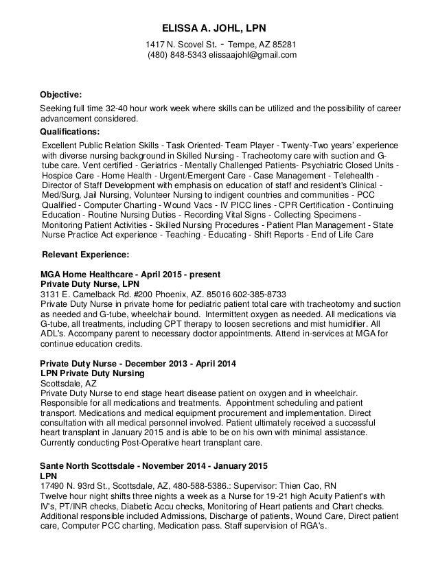elissa mcminn  lpn resume 2015