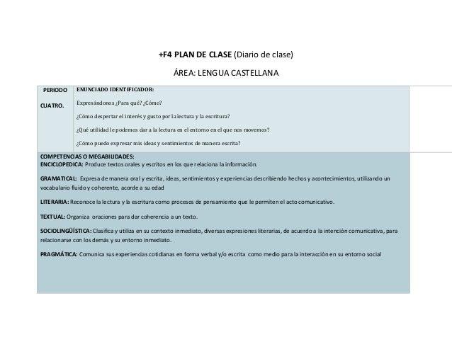 +F4 PLAN DE CLASE (Diario de clase)                                                       ÁREA: LENGUA CASTELLANA PERIODO ...