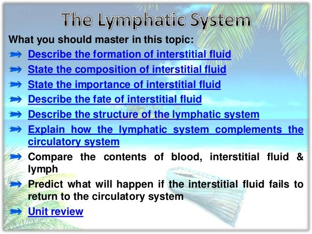 What you should master in this topic: Describe the formation of interstitial fluid State the composition of interstitial f...