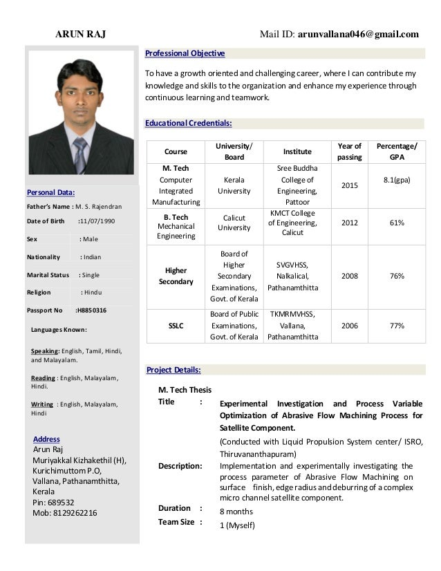 resume by arun