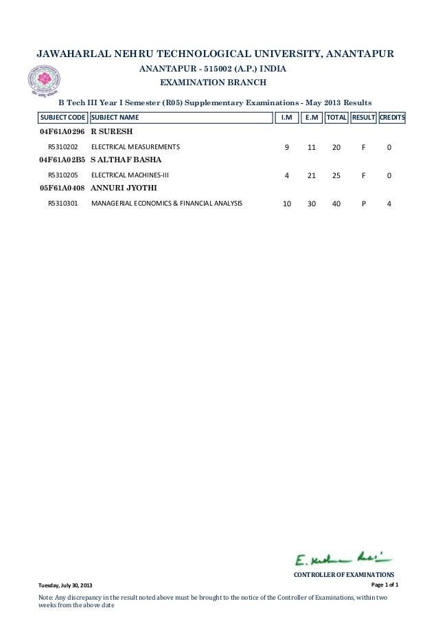 III B.TECH. I SEM (R05) SUPPLE. MAY 2013