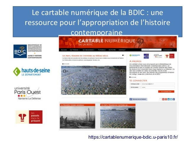 Le cartable numérique de la BDIC : une ressource pour l'appropriation de l'histoire contemporaine https://cartablenumeriqu...