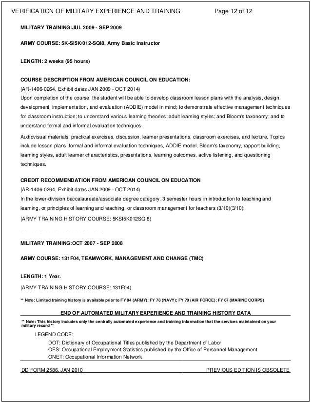 Vmet Document Dd Form 2586 - Information