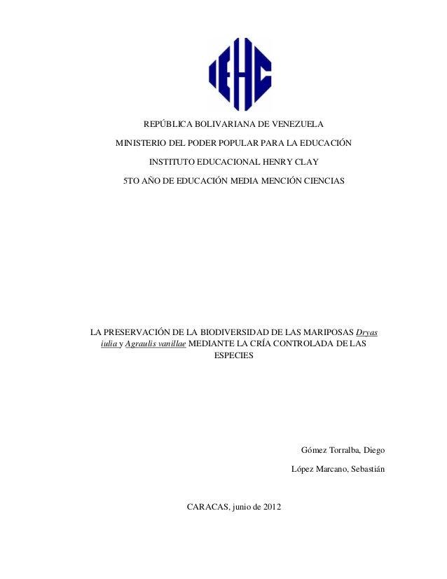 REPÚBLICA BOLIVARIANA DE VENEZUELA MINISTERIO DEL PODER POPULAR PARA LA EDUCACIÓN INSTITUTO EDUCACIONAL HENRY CLAY 5TO AÑO...