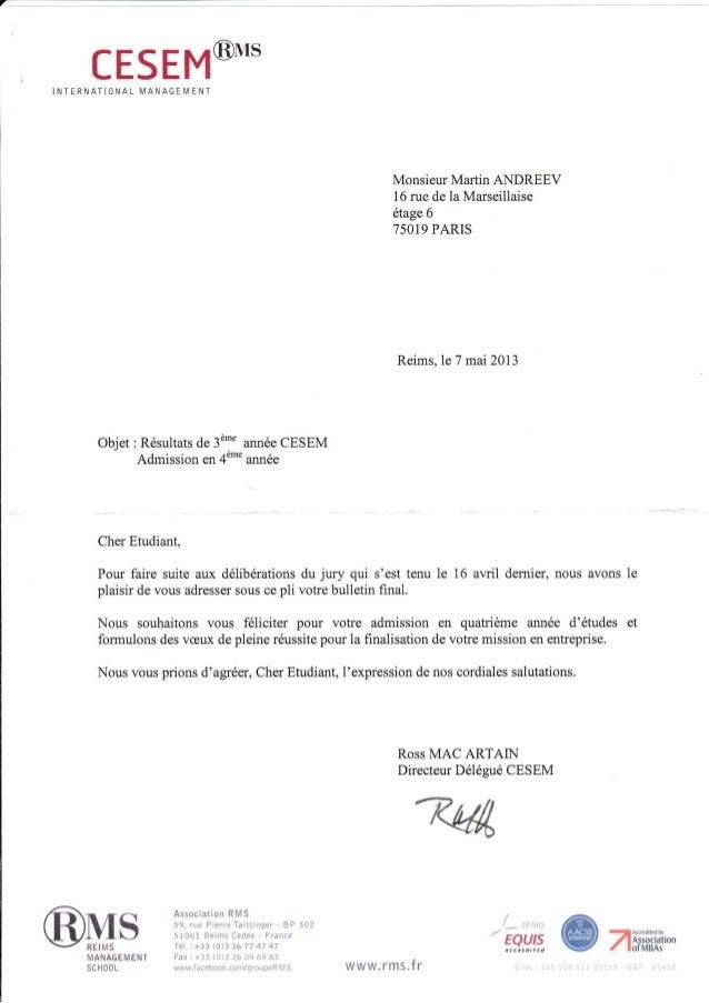 """CESEM@*.INTERNATIONAL I4AN AG E IM E NT objet: R6sultats de 3d"""" ann6e CESEM Admission en 4"""""""" ann6e Monsieur Martin ANDREEV..."""