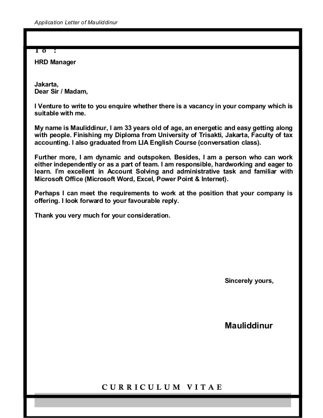 dear madam or sir cover letter