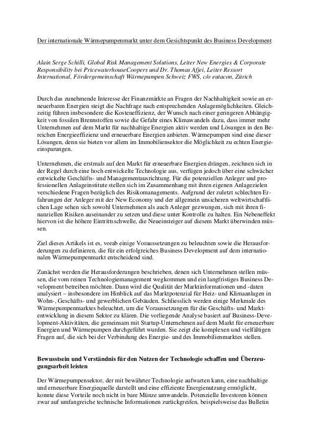Der internationale Wärmepumpenmarkt unter dem Gesichtspunkt des Business Development Alain Serge Schilli, Global Risk Mana...