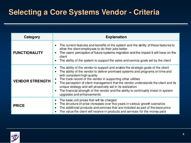 vendor selection Use this vendor evaluation and selection matrix tool to establish a side by side comparison of potential vendor offerings making sound and documented procurements.