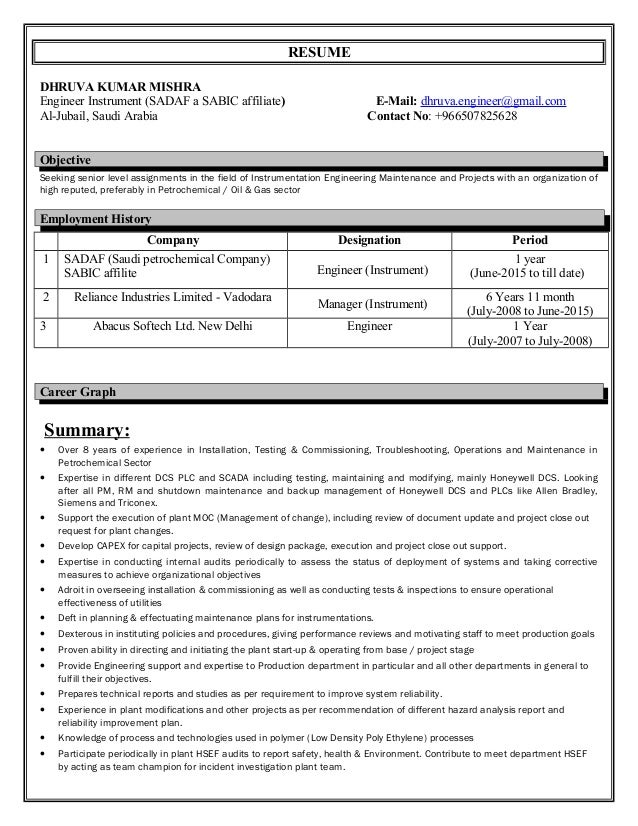 resume instrumentation engineer 9 year experience