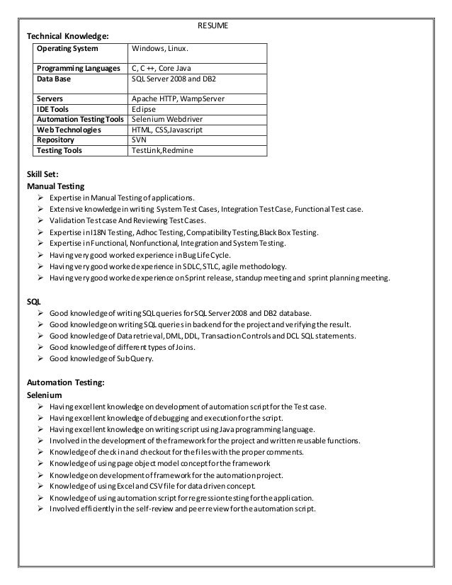 sle resume for manual testing professional of 2 yr