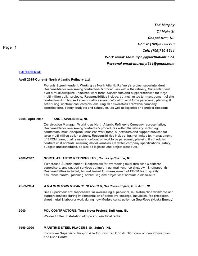 resume ted murphy 2015