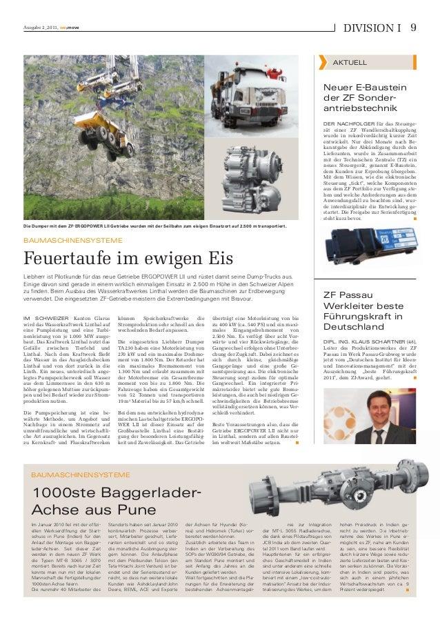 Ausgabe 2_2011, we›move BAUMASCHINENSYSTEME 1000ste Baggerlader- Achse aus Pune BAUMASCHINENSYSTEME Feuertaufe im ewigen E...