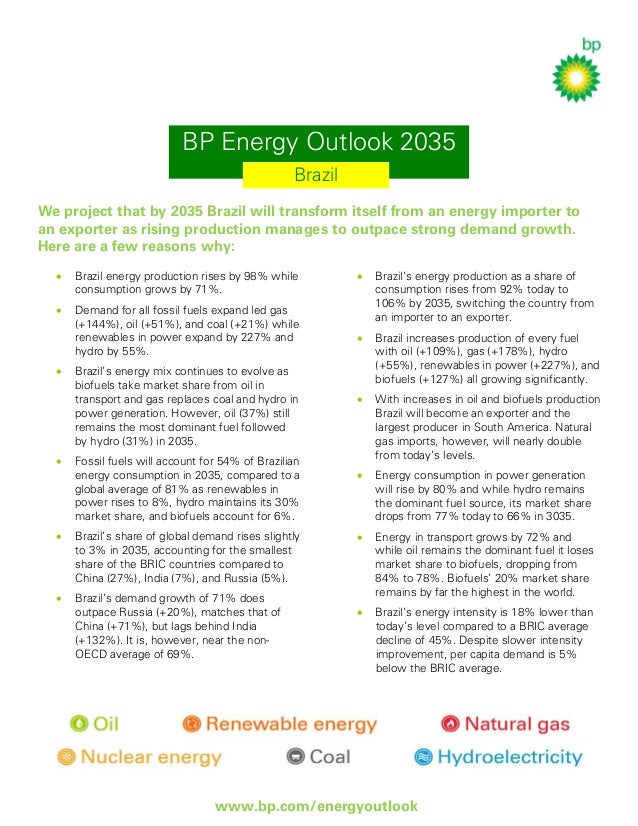 BP Energy Outlook 2035 Brazil We project that by 2035 Brazil will transform itself from an energy importer to an exporter ...