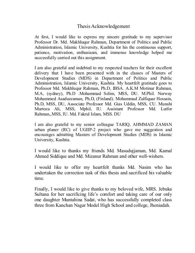 Phd dissertation acknowledgment