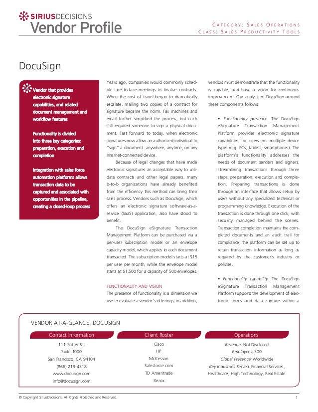 Sirius Decisions DocuSign Vendor Profile