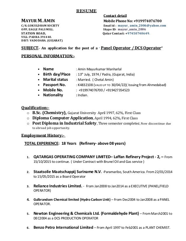Resume for a refinery
