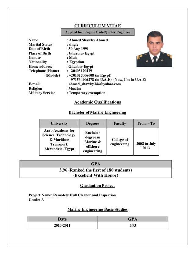 Resume for trainee marine engineer