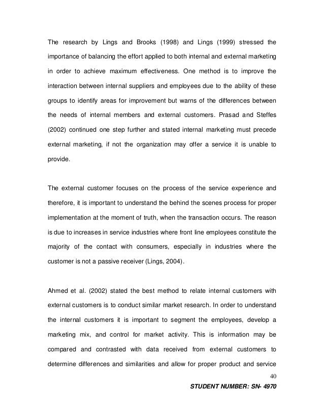 Research paper on internal service quality