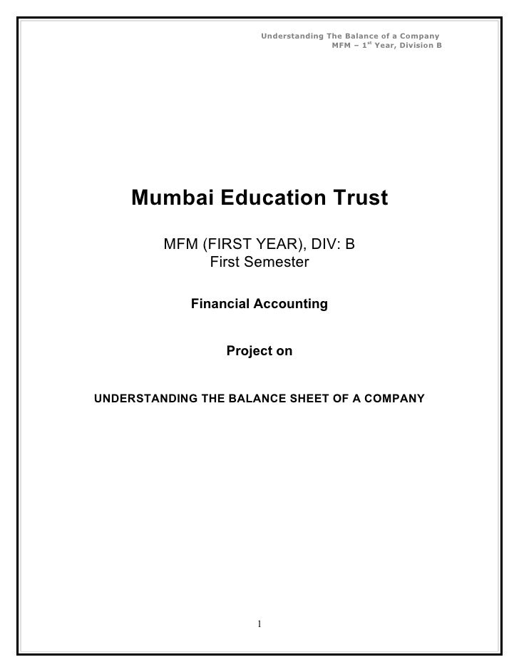 Understanding The Balance of a Company                                     MFM – 1st Year, Division B    Mumbai Education ...